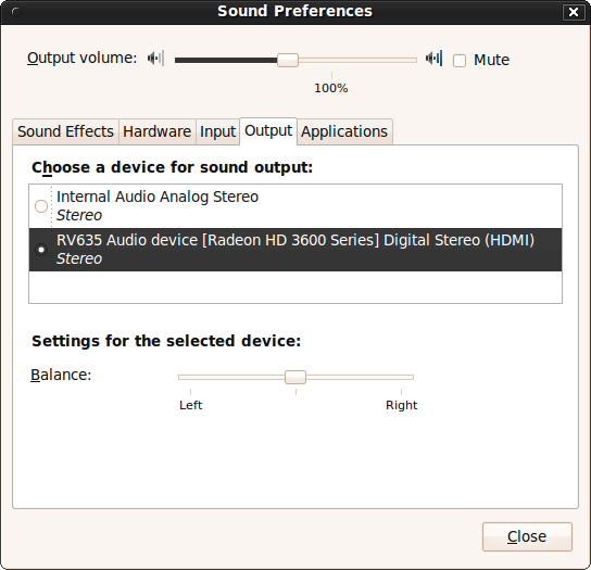 HDMI selected in sound output in Ubuntu Karmic Kaola